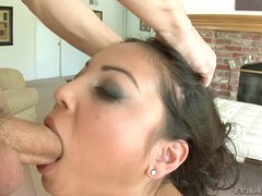 Sensual Adrianna Luna gets her slippery mouth hammered
