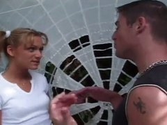 Outdoor recent slit corruption with constrained blonde teen