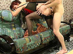 Mature mistress in hawt lingerie teaching a exposed dong-strong fellow to behave