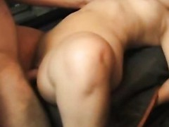 This slutty older pervert craves to try fitting his big obese dick in a truly taut muff and ends up fucking some shameless midget slut hard and loud right in the back of his red pickup truck.