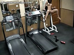 Just look at this vicious brunette hair babe going crazy in the gym when alone! 1st she's exercising in no thing but nylon pantyhose and then she's stripping it likewise and widening her kewl legs wide as if gagging for deep penetrations!
