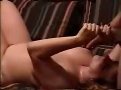 Watch sexual homemade video with obese doll jerking off hard dick and petting balls of her husband until this guy shoots his hot cum on her huge boobs.
