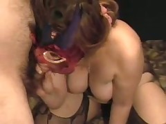 A lady with big tits gets herself off with a toy as I engulf her breasts. She cums loudly then sucks the cum out of my shlong swallowing the load. Moaning with glee this babe then rubs my soaked drained penis on her nipple.