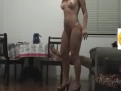 Sex goddess with long flowing hair knows how to please her BF visually by getting naked in her heels and showing a little pubic hair line on her cunt. He fucks her hard core on the chair and makes them the one and the other cum.