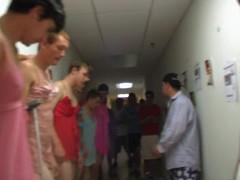Naughty seductive bodybuilders dressed like stunning prostitute, enjoy