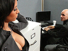 Johnny is trying to concentrate at work, but this chap can't help but be distracted by his co-worker, Mya's big hawt brassiere buddies and the provocative way that honey dresses. Frustrated by his inability to pay attention at the office, this chab complaints to his supervisors. Angry and hurt, Mya uses her luscious big love love melons to persuade Johnny to take action that's not so legal...