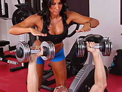 Lezley Zen's working as a personal trainer and this babe's got a fresh client, but this hottie doesn't know which of the two guys it is in the gym. Johnny Sins tricks the other man into leaving the gym so this chab's alone for some one on one time with Lezley. First Lezley shows him some proper ways to toning some muscles, then later Johnny shows Lezley some sexy work outs that gets her sweating!