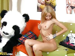 Russian blonde cutie is bored and wishes some fun! Her name is Sveta, a slim hottie with a young hot body that burns with lust for a hard fuck. At 1st this babe widen these hot legs and rubbed her cookie but that was not sufficiently so now this babe sucks and rides her panda bear. What a wicked girl, panda should punish her!