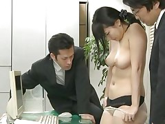 Did Megumi ever think that this could happen to her at the office? This chick trusted her coworkers but they had a plan with her sexy ass from the beginning. Now the Nippon chick is in big trouble and that chick knows it. At first that chick is asked to undress and then bend over, showing her holes. Then that chick gets fucked.