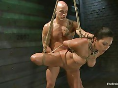 Such a cutie needs a hard fuck and some humiliation and that is exactly what the bald fellow gives helped by his buddy. That guy copulates her vagina from behind and then grabs her mouth so that hottie would pay attention on what he says. Seeing her dominated indeed makes you thinking if that hottie will behave from now on.