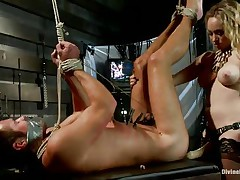 Golden-haired milf Aiden Starr ties Mike De Marko up in ropes and pounds his tight hole with her huge strap-on dildo. His face hole is covered in duct tape, so this guy can't even beg her to stop. This babe tortures the pain slut with clothespins, mummifies him and teases his pathetic worm of a cock.