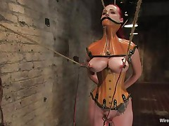 That chick was a very bad milf, that chick dominated and drilled a lot of cuties and now it's time for her to be disciplined. Her pussy is beginning to get truly soaked because the brunette domina tied her, added clamps on her nipps and pulled them hard. That chick is immobilized and now has to suffer until that chick will become an obedient slut.