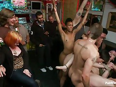 Proxy Paige is a blond milf longing for punishment. The cute girl with tiny round natural milk shakes enjoys being fastened up and getting anal drilled in a bar. Gorgeous Lorelei Lee and Mr. Pete are making sure she acquires what she deserves. The white stud bangs her throat roughly as she moans with pleasure and pain.