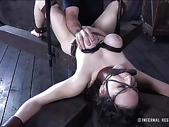This brunette is milky white and her cum-hole is so constricted and perfect that they had to gape it and reveal the inside of it. Have a joy watching this bitch in a uncomfortable position as her large soft love muffins are squeezed and sucked and her mouth gagged. Four clamps are added on her alluring cum-hole to gape it for our sight
