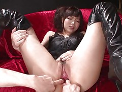 This innocent looking fur pie named Megumi is a fucking whore. She was laying on that sofa burning with lust when I came and start playing with her holes. Megumi offered her butt and enjoyed what I did to it. Using some sex toy I glad this bitch and stuffed her rectal hole and that moist and moist pussy.