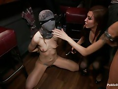 She had her entire face overspread in a mask they cut open a aperture in front of her face hole and used that aperture to insert a big powerful dick into her mouth. fat lady gets a bit of coddling from the chap before he gets back to fucking the face hole of the bound up girl and punishing her they want to fuck her hard.