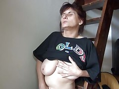 Old lady Vlasta receives so turned on on a ladder and takes her clothes off, during the time that touching her vagina and tits so hard. That babe keeps fingering her moist cunt and groaning with so much pleasure. Then, the bitch sits down and spreads her legs 'coz this babe is ready to cum on a little red slide. Wanna know how this`ll end?