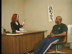 Cute redhead midget asks this tall big black fellow to stand up and then takes his cock in her mouth, wrapping these red sexy lips around it. This is at an interview and that fellow more good fuck that midget whore priceless to take the job. Look at her sucking his dick with passion, this babe loves it and then undresses, maybe we are going to watch some hardcore fuck? If that fellow wants the job that fellow will do as requested from this midget slut.