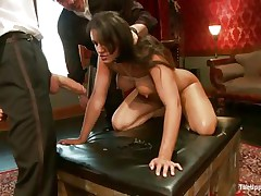Brunette hair wench Penny is a thrall at a sex party. This babe is made to engulf hard cocks, then receives her a-hole spanked. A large sex tool will solve the situation very well, making her cunt so moist and hot. The guy sticks his dick in her pussy from behind, but she wants to engulf some more and begins sucking the dildo!