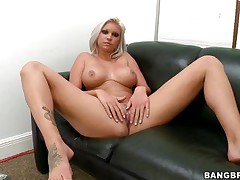 Slut with short blonde hair, Deadra Dee, is showing her big titties and widening her legs as this babe spreads her cookie for you too. See her wet cookie as this babe is masturbating for pleasure. On a couch, expecting for a 10-Pounder with her nude body this bitch is willing to get screwed hard. And as a schlong came, this babe started blowjob instantly!
