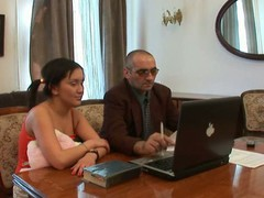 Old tutor is getting a hard boner from teaching sexy chicks