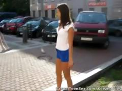 Young stud picks up cute brunette in the parking lot and takes her home to fuck