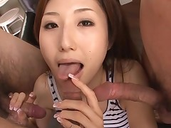 Hawt Oriental mamma in heels gets stripped and fucked on couch