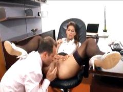 His secretary likes a large boner in her gap