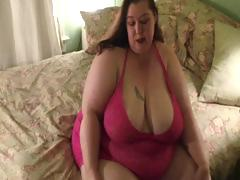Very large sweethearts strips down to her panyhose and then shows large booty