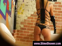 Gloryhole gals soaked and dirty shower