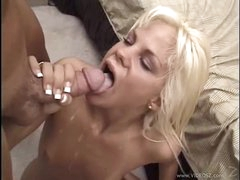 Raunchy Shay Sweet gets her throat filled with warm goo